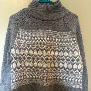 Chaps gray and white thick sweater mock turtleneck